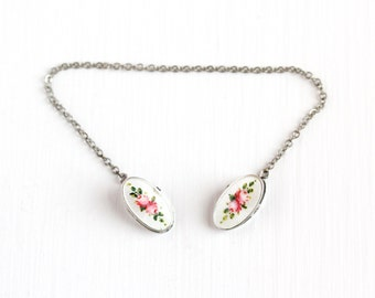 Antique Sterling Silver Enamel Flower Guilloche Sweater Guard - Vintage Edwardian 1910s Baby Young Child Bib Clip Pink Floral Rose Jewelry