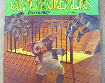 Gizmo and the Gremlins Warner Brothers Vintage Childrens Book 1984 Paperback See Hear Read Illustrated Record Book Sci-Fi Science Fiction 45