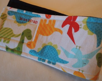 Dog Belly Band, Stop Marking with WeeWrap,  Flannel Dinosaur Fabric,  Personalized