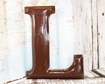 Enamel Letter L, Capital L, Chocolate brown Letter L