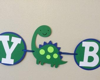 Blue and Green Dinosaur Happy Birthday Banner Boy long neck