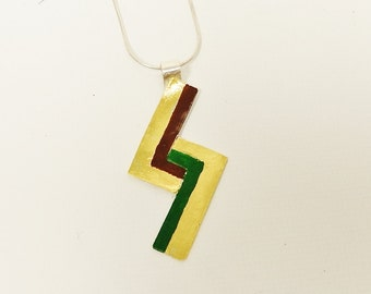 Sterling Silver Geometric, Abstract, Enamel Red Black and Gold Pendant Necklace