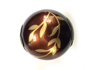 """Decorative Metallic Ball Pottery Ball, Clay Ball Sculpture, 4"""" Hollow Clay Orb Sphere with Metal Caps Deep Brown Gold 6"""