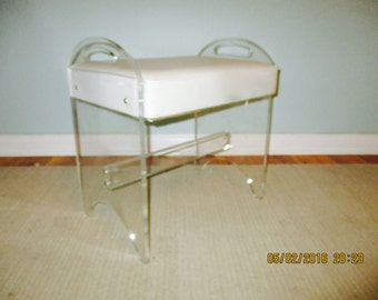 Vintage Rialto LUCITE waterfall swivel VANITY desk  chair stool bench Mid century modern Eames era Hollywood Regency