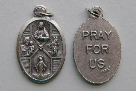 5 Patron Saint Medal Findings - 4 Way Cross, Die Cast Silverplate, Silver Color, Oxidized Metal, Made in Italy, Charm, Drop, RM201