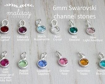 swarovski crystal channel stone | birthstone dangle