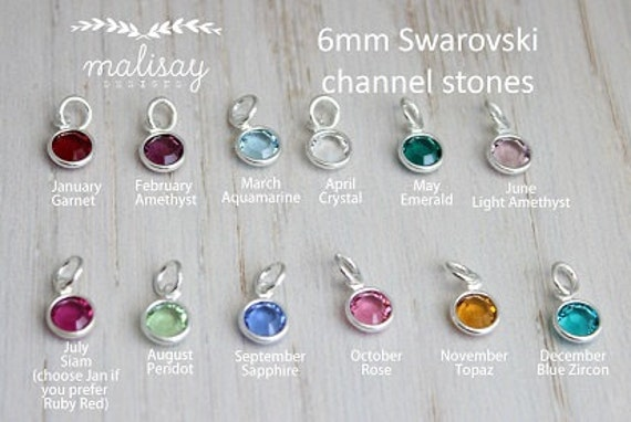 swarovski crystal channel stone | birthstone dangle