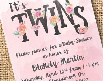 Pink Floral Twins Baby Shower Invitation Twin Girls Watercolor Baby Tea Floral Flowers Twins Invite Printable Floral Letters Pink Watercolor
