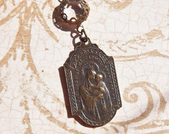 Scapular Medal Our Lady of Mount Carmel and Sacred Heart Necklace