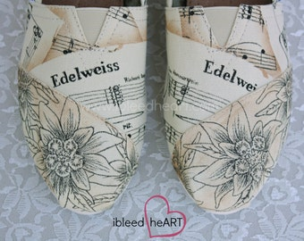 Edelweiss Custom Painted TOMS Shoes - Sheet Music Shoes - Personalized Footwear - Classic Songs - Musical Notes - Band Nerd
