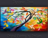 "Art painting original art Modern mixed media multi-colored abstract painting Oil Painting gallery art Dynamic Tree by Tim Lam 48""  x 24"""