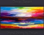 "Huge original Texture art Abstract painting Modern decor Sunset landscape by Tim Lam 48"" x 24"""