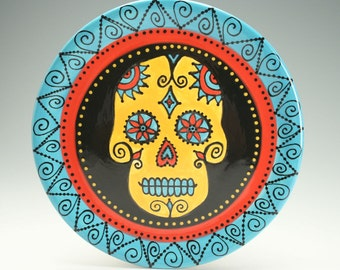 Day of the Dead Platter, Sugar Skull Ceramic Serving Plate