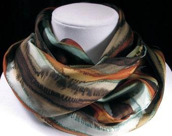 Silk Scarf, Hand Painted Silk Scarf - Quintessence Silk - Rustic Brown, dusty aqua, copper - Coastal Bluffs