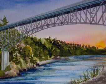Deception Pass, Watercolor Giclee Print, San Juan Islands, Pacific Northwest, Washington, Bridge, Seascape