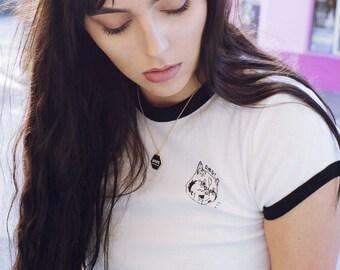 OMG! ringer style tee - cat t shirt