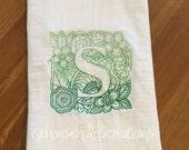 "Mendhika ""S"" Embroidered Flour Sack Dish Towel"