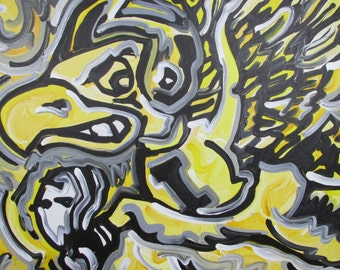 24x30 Officialy Licensed University of Iowa Painting by Justin Patten Herky Hawkeye Sports Art College Baseball Football Basketball