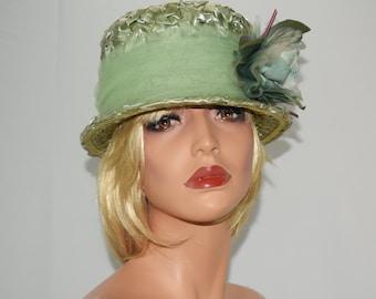 Vintage Pastel Green Large Flower Hatband Straw Bucket Hat - Union Made Label