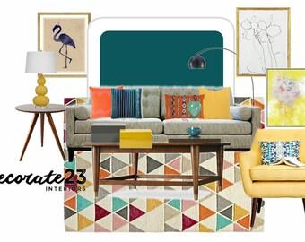Living Room E-Interior Design, Interior Design, Online Interior Design, Home Decor, Affordable Interior Design Service, DIY Interior Design