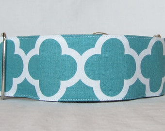 SALE Teal Quatrefoil Martingale Dog Collar - 2 Inch - white blue turquoise pattern architecture design geometric
