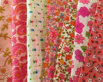 Vintage Fabric Pink Lot of 35 Quilting