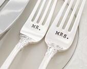 """Mr. & Mrs., vintage wedding """"emperor"""" forks and knives, hand stamped gold"""