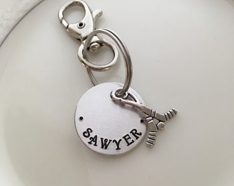 Name tag, custom name zipper pull/ id bag tag, hand stamped, football or basketball