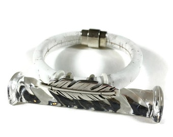 White Cork Bracelet with Silver Tone Feather and Magnetic Clasp
