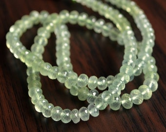 Prehnite Rondelles, Mint Green Beads, Real Gemstone Beads, Semiprecious Stone, AAA Roundel, 3.5 - 4.5mm - 7 inch strand