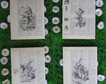 Alice in Wonderland - set of 4 prints on vintage dictionnary pages