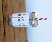 Arrows - Mason Jar cup  24 oz large Tumbler w sleeve- travel mug - teachers gift - candy swirl straw included