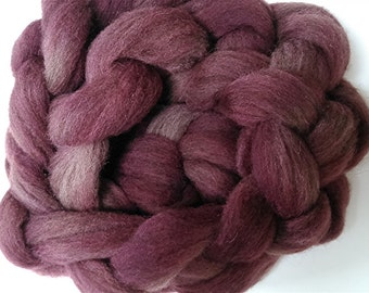 "Roving Combed Top Babydoll Southdown Wool & Alpaca Blend Muted Maroon Hand Dyed 2 Oz More Avail Spinning Fiber Felting Wool "" Dusty Brick """