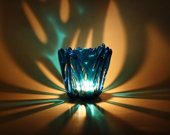 Candle Holder Aqua Blue Fused Glass Tealight Holder