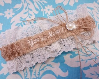 Burlap and lace You're Next Wedding Garter Embroidered with ivory font and pearl throw garter toss garter
