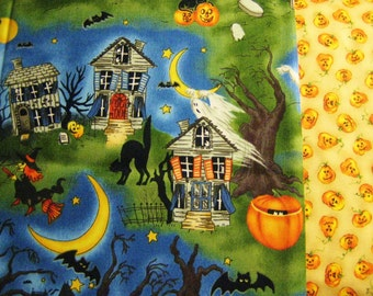 """Northcott Scary Night by Laurie Grodin 1yd + 27""""  Pumpkins and Halloween Haunted House, Ghost, Witches, Cats and Moons # 2204 and #2208"""