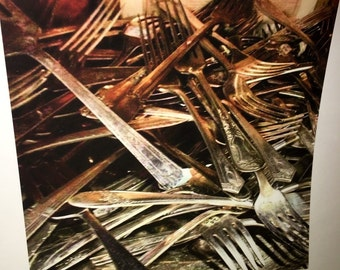 Original 8 by 8 photo on 14 by 14 paper silverware forks collections series