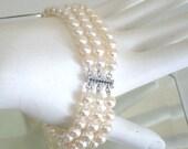 ASHIRA CLOSING SALE: Ashira Gorgeous 14Kt White Gold Sapphire Clasp 3 Strand Cultured White Pearl Bracelet