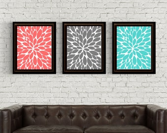 Teal And Brown Wall Art dahlia wall art | etsy