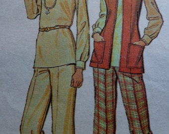 70s Wide Leg Flared Pants Pattern Vest Blouse Skirt Pattern Size 14 Bust 36 McCalls 4224