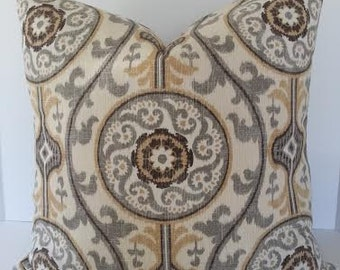 Both Sides - Suzani Designer Pillow Cover / Square and Euro Shams / Medallion -  Brown / Tan / Grey and Ivory