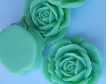 GORGEOUS Big Rose Cabochons - Lot of 4 - 43mm - Sea Foam Green Color - large flower jewelry finding big huge bright resin