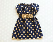 Navy and Gold Polka Dot Dress - Girls Dress - Girls Fall Dress - Gold Dot Dress - Baby Girl Dress - Baby Girl Dresses - Fall Dresses