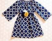 Navy Quatrefoil Dress - Girls Fall Dress - Long Sleeve Dress - Baby Girl Dress - Girls Dresses - Fall Dresses