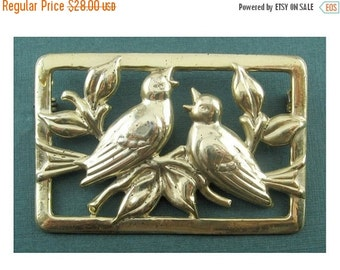 Delightful 1930's Craft by CORO Gilt Sterling Norseland Songbirds Pin