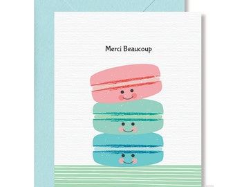 Thank You Card / Merci Beaucoup / French Thank You Card / Macarons