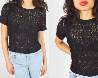90's BLACK FLORAL SHEER Crop T Shirt Tee. Short Sleeves. 90's Grunge Mod. Floral
