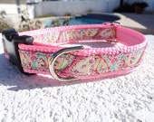 """Small Girl Dog Collar 3/4"""" width Pink Paisley Quick Release buckle adjustable - Martingale style is cost upgrade"""