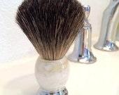 Shave Brush Marbleized Ivory Handle.  Black Badger Bristles. Shaving Brush
