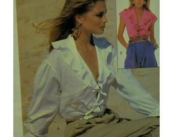 "Boho Ruffle Neck Blouse Pattern, Front Opening Ties, Cap/Long Ruffle Sleeves,McCalls No. 7996 Size Medium (14-16) Bust 36-38""97-93cm"